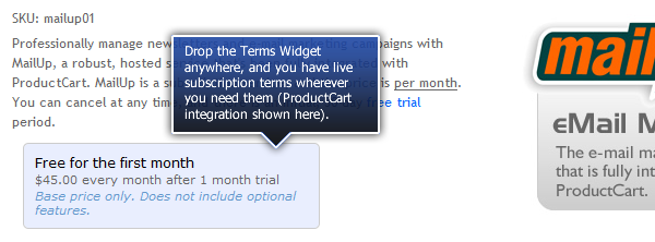 Subscription Terms Widget